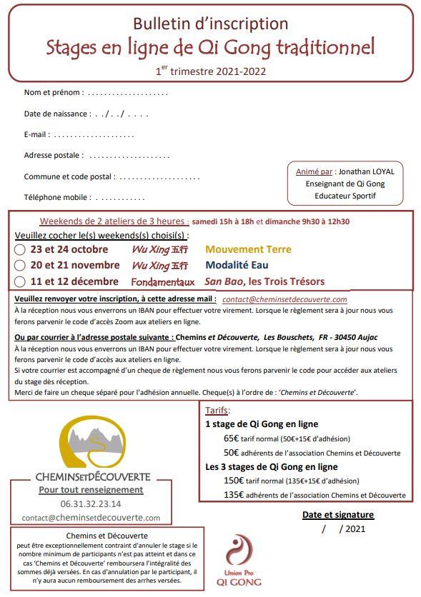 Inscriptions stages en ligne - Chemins et Découverte - Jonathan Loyal