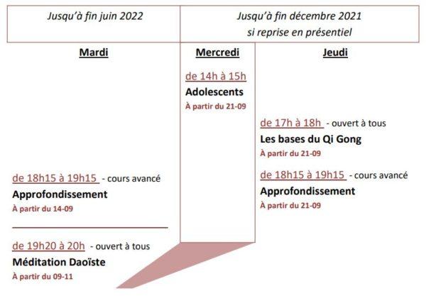 Programme cours en ligne 2021-2022 Qi Gong traditionnel - Chemins et Découverte